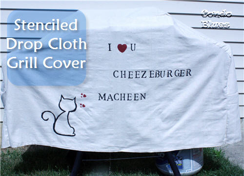 stenciled canvas drop cloth grill cover