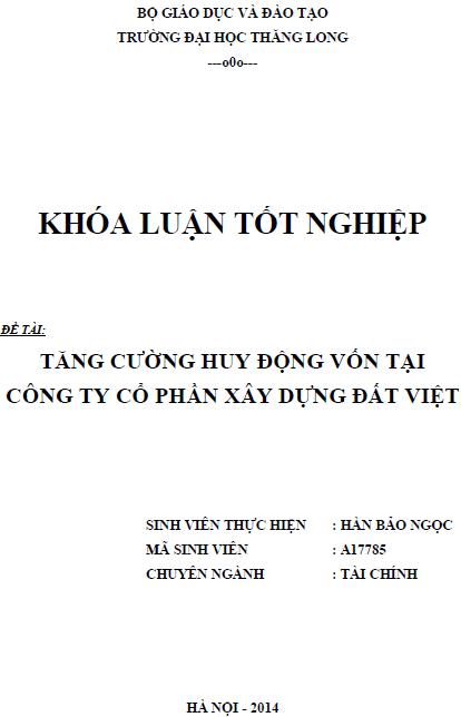 Tăng cường huy động vốn tại Công ty Cổ phần xây dựng Đất Việt