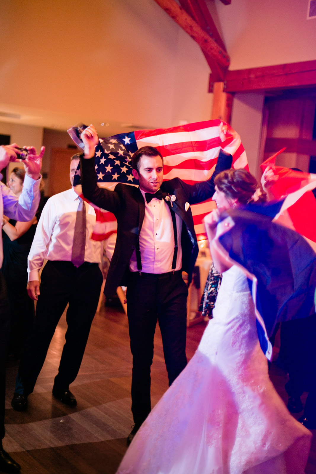 flag dance, wedding traditions, wedding tradition ideas, American flag, French flag