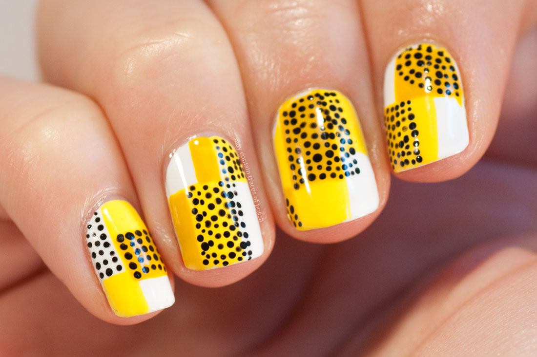 Stylish Retro Mid Century Geometric Manicure - yellow, black and white