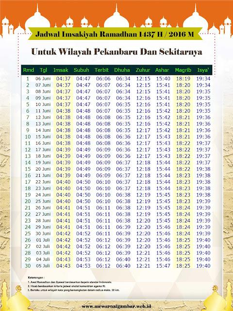 Jadwal Imsakiyah Ramadhan 1437 H / 2016 M Untuk Kota Pekanbaru
