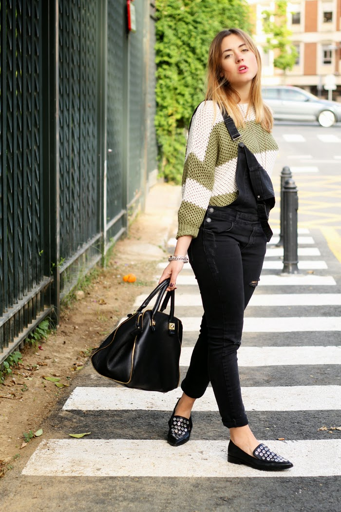 Mismash sweater and black dungarees