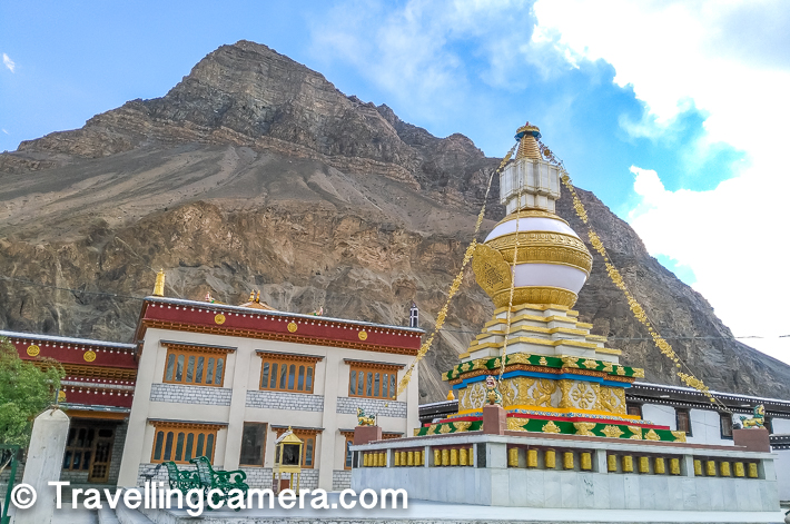 After the earthquake of 1975, the monastery was rebuilt, and in 1983 a new Du-kang or Assembly Hall was constructed. It is here that the 14th Dalai Lama held the Kalachakra ceremonies in 1983 and 1996.