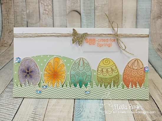 Easter egg card by Naki Rager | Beautiful Spring Stamp Set by Newton's Nook Designs