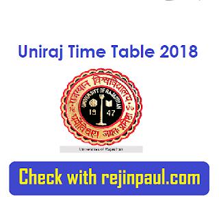 Rajasthan University Time Table 2018 - Uniraj BA B.Sc B.Com Time Table 2018