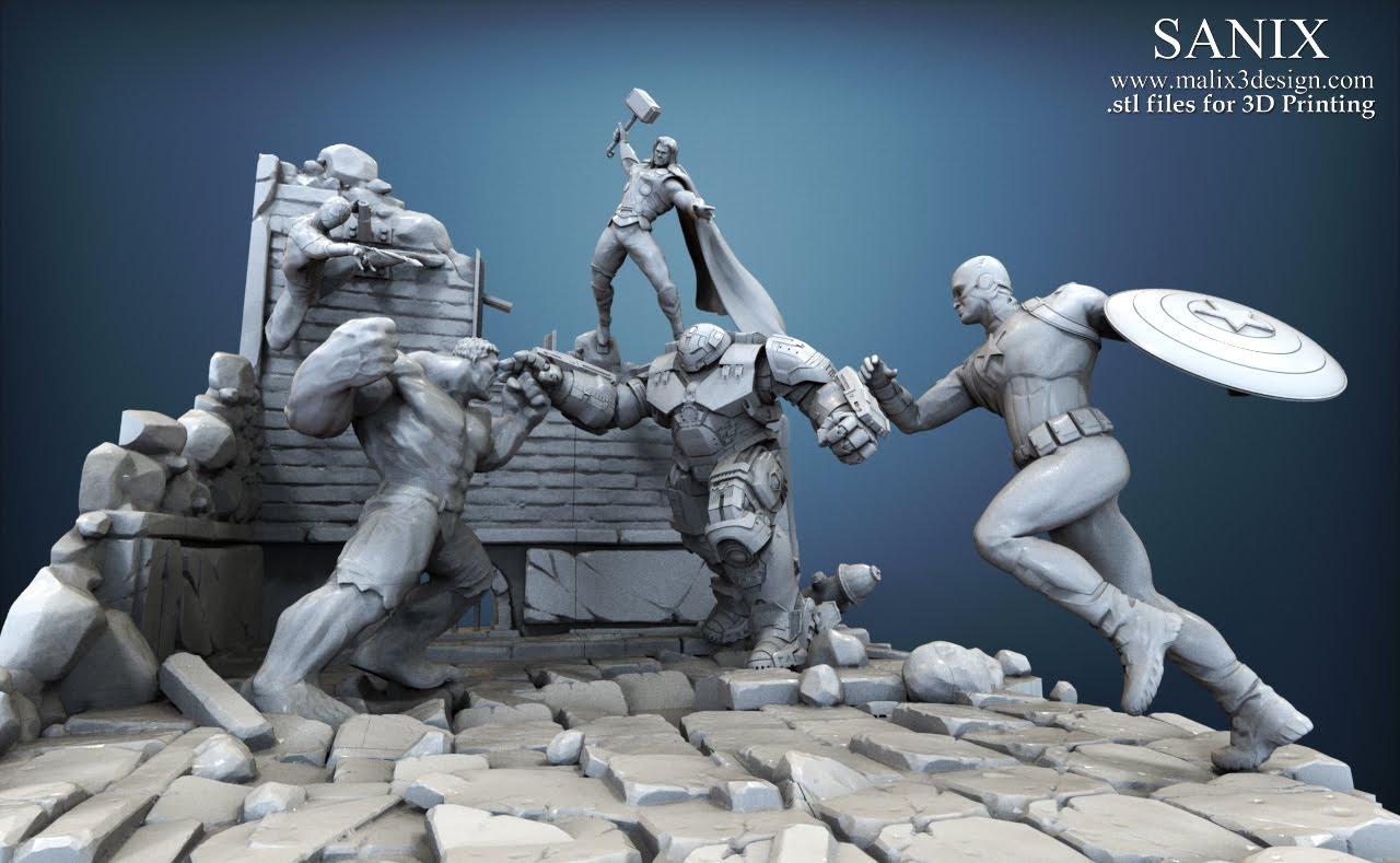 Superheroes Scene SPIDER BOY 3D Printable Model Wwwmalix3designcom SANIX 3D Designer