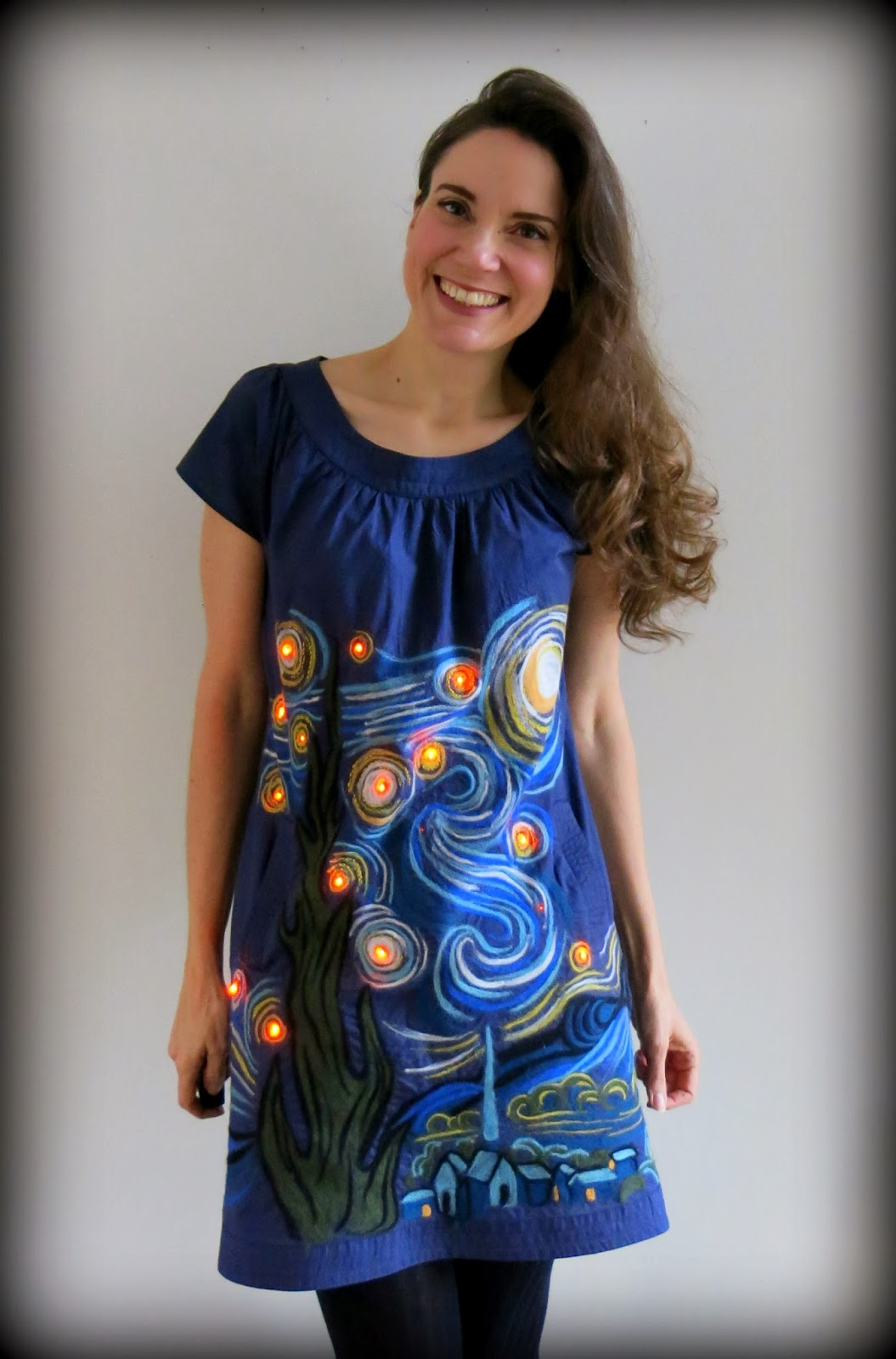 Cassie Stephens: DIY: A Felted, Light-Up Starry Night Dress!