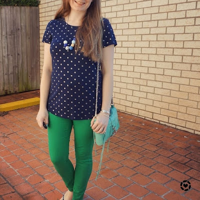 awayfromtheblue instagram navy polka dot foil print tee with green asos petite skinny jeans spring outfit SAHM style