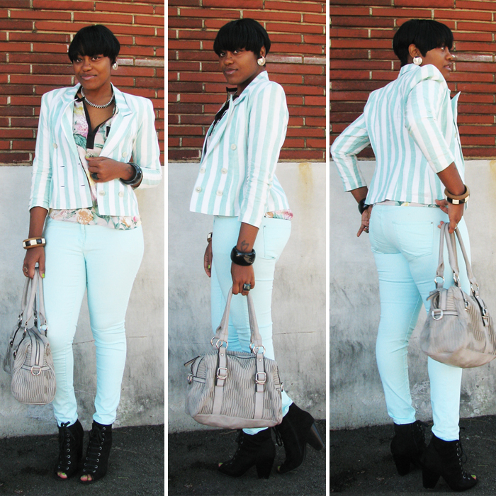 b578bc81132e I picked up this blazer from goodwill. I paired it with these mint jeans I  got from H&M last year. I had to do a little pattern mix, ...