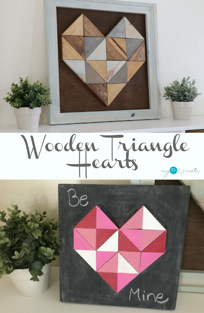 How to make a Wooden Triangle Heart, full picture tutorial at MyLove2Create