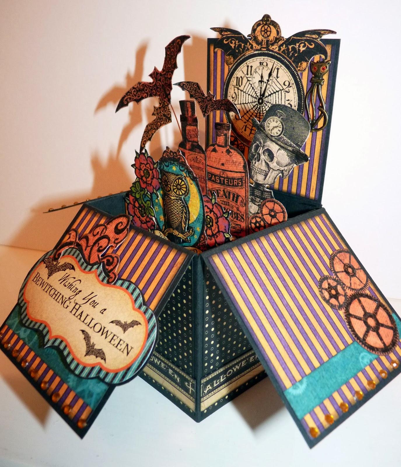 scrappydoodledoo steampunk spells pop up card