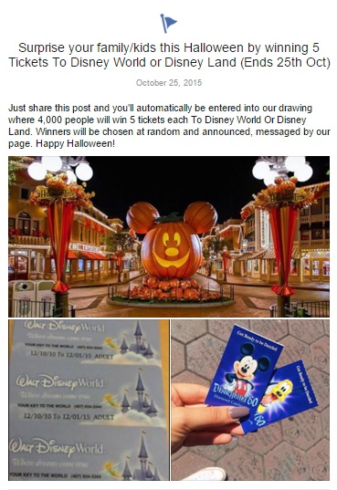 Sharing this post --won't-- win you tickets to Disney World.