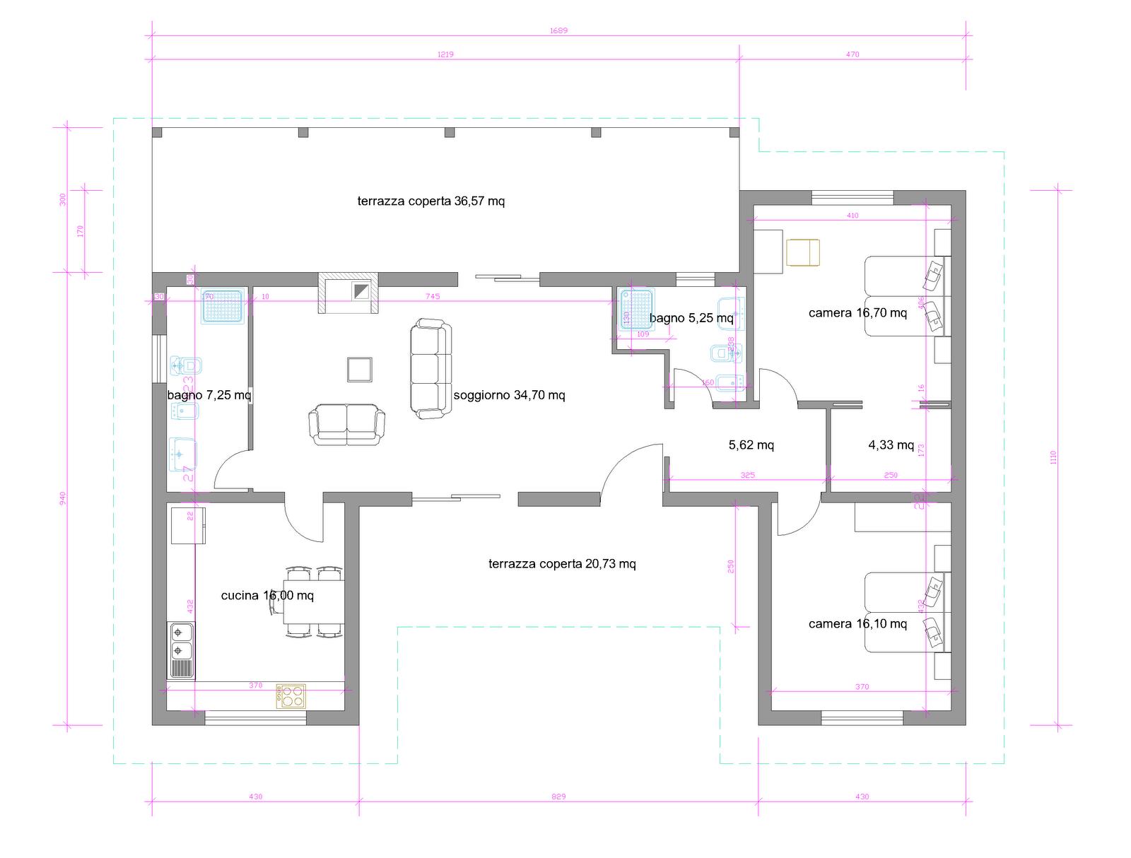 Progetti di case in legno casa mignola 129 mq porticati for Progetti interni case