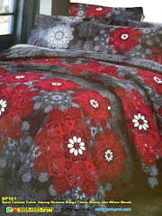 Sprei Custom Katun Jepang Dewasa Bunga Clasic Bloom Abu Hitam Merah