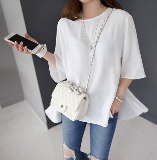 Slide Slit Flared Blouse