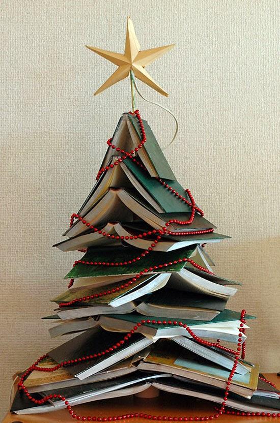 árvore de natal de livros