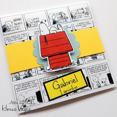 convite artesanal infantil personalizado aniversário snoopy e charlie brown peanults filme desenho quadrinhos menino criança
