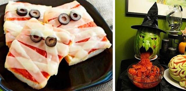 Idéias fáceis para Halloween comida, buffet lanche e melancia