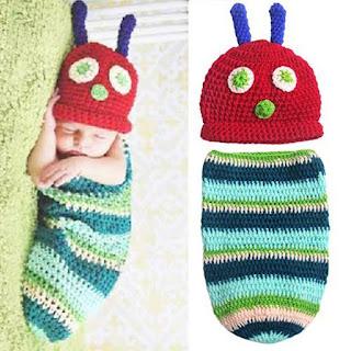 Newborn Infant Baby Girl Boy Handmade Crochet Knit Crown Hat (Caterpillar Style)