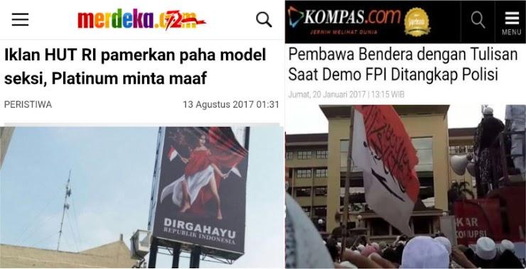 Merah Putih Bertuliskan Tauhid Langsung Ditangkap, Dilecehkan Iklan Sexy Cukup Minta Maaf Selesai