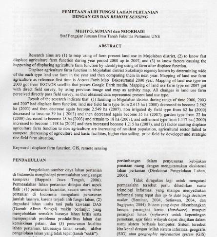 Pemetaan Alih Fungsi Lahan Pertanian Dengan Gis dan Remote sensing [Paper]