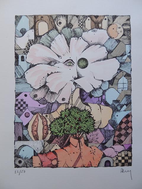 Eduard Alcoy litografía serie tarot cabeza arbol