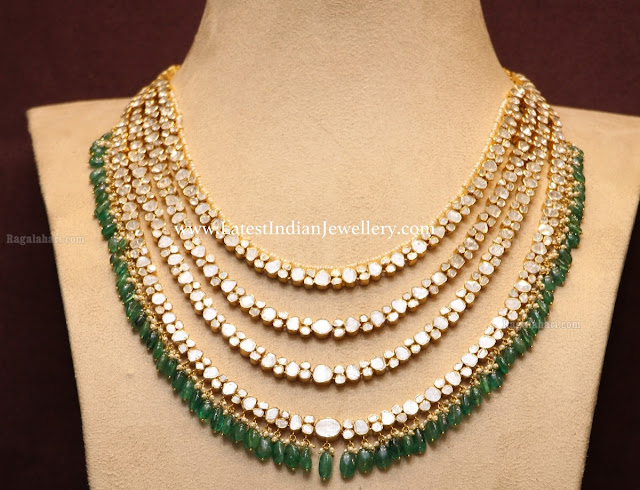 Emerald Drops 4 Line Polki Necklace