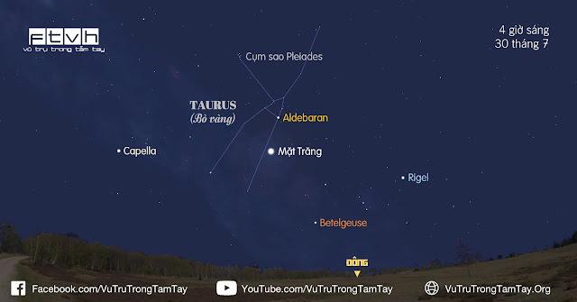 [Ftvh] #BầuTrờiĐêmNay 29/7/2016. Mặt Trăng và sao Aldebaran trước bình minh ngày 30/7.