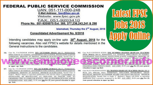 FPSC Jobs 2018 Advertisement