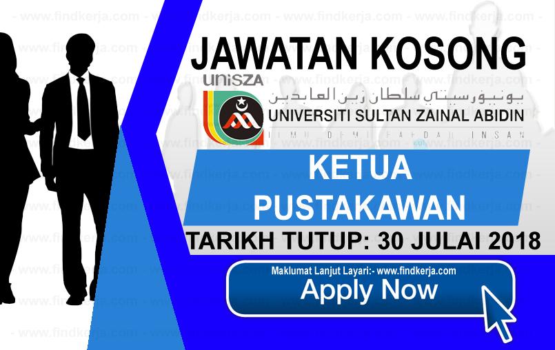 Jawatan Kerja Kosong UniSZA - Universiti Sultan Zainal Abidin logo www.findkerja.com www.ohjob.info julai 2018