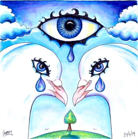 Art Illustration of two Doves  Crying.