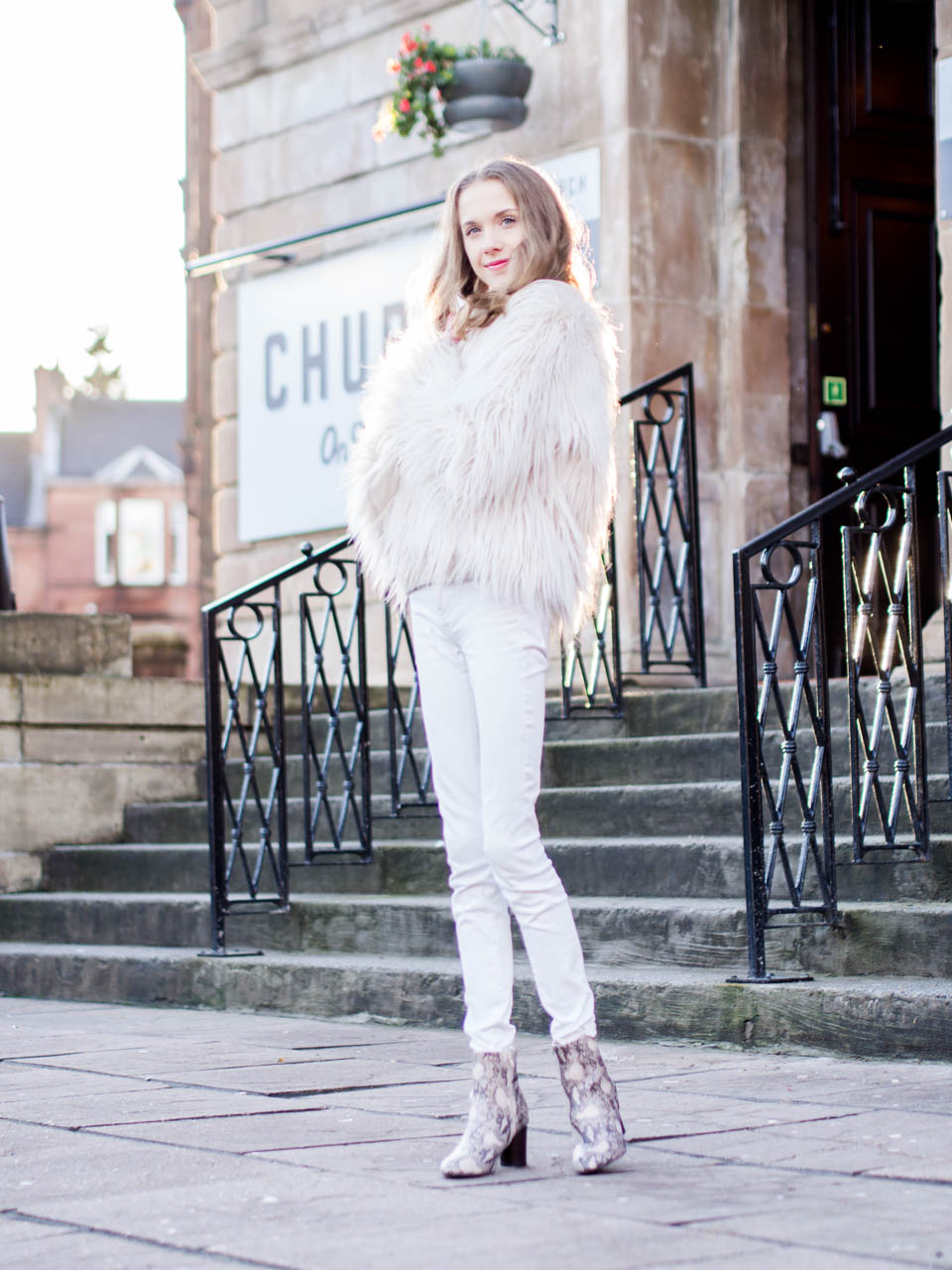 fashion-blogger-outfit-winter-whites-faux-fur-jacket-snakeskin-print-ankle-boots