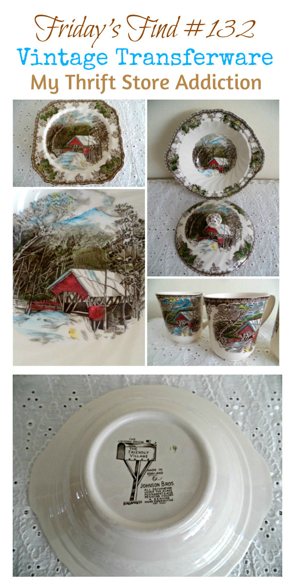 Friday's Find #132 mythriftstoreaddiction.blogspot.com Johnson Brothers Vintage Transferware scored at a yard sale!