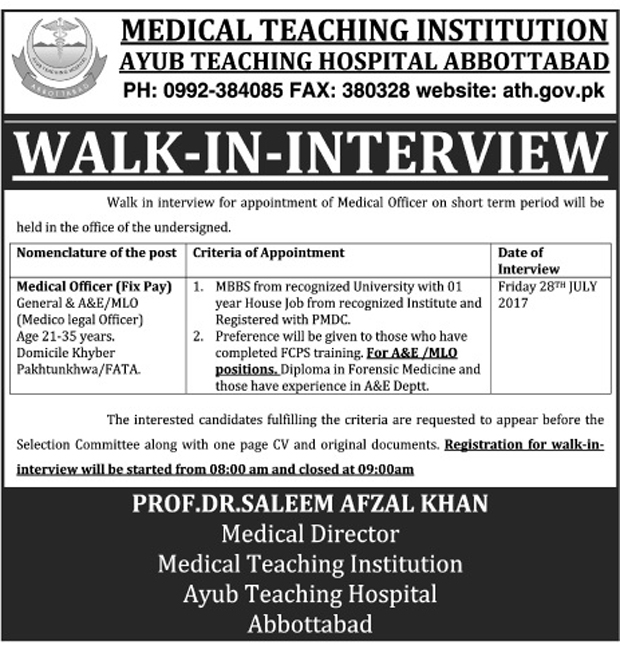 Jobs In Medical Teaching Institutions Ayub Teaching Hospital Abbottabad 26 July 2017