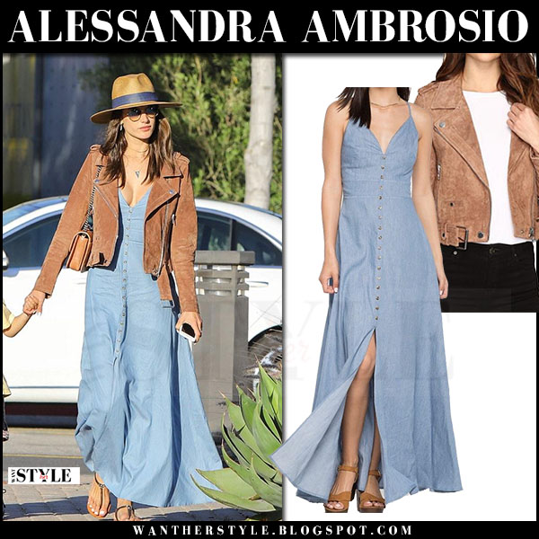 Alessandra Ambrosio in blue maxi dress and suede jacket blanknyc what she wore june 18 2017 streetstyle