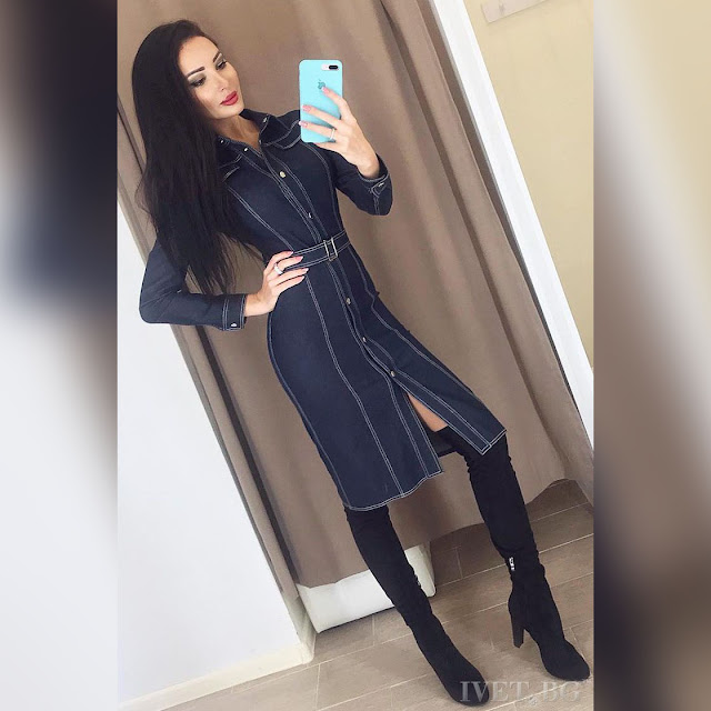 Μακρυμάνικο  μίντι τζιν φόρεμα MIHA