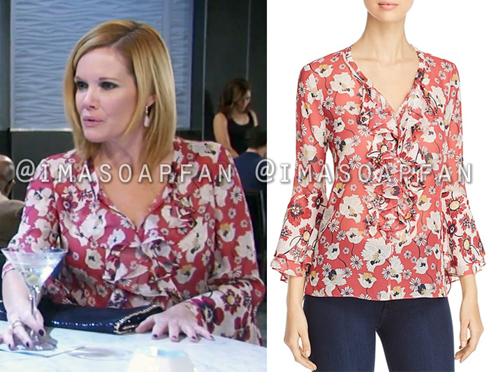 Ava Jerome, Maura West, Ruffled Pink Floral Print Blouse, General Hospital, GH