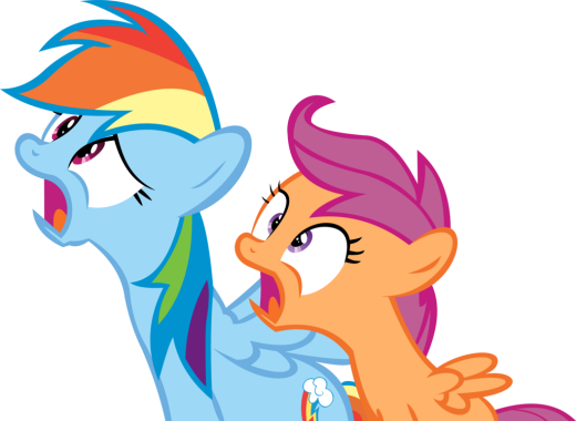 Rainbow Dash and Scootaloo Vector - Shocked