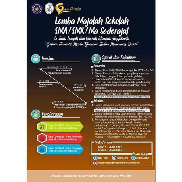 Lomba Majalah Sekolah Untuk SMA Sederajat Se-Jawa Tengah & DIY