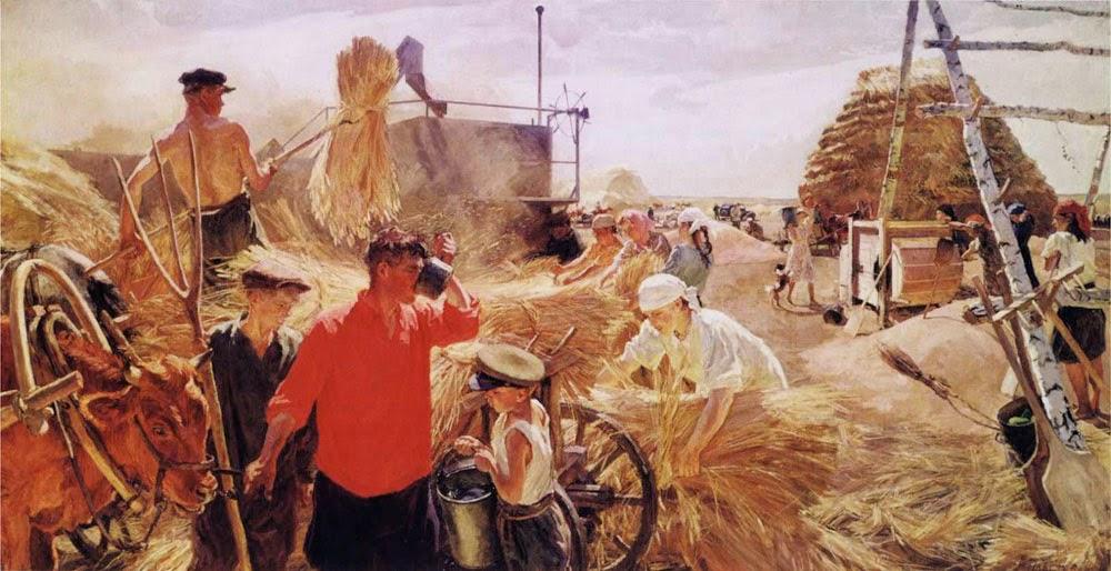 """Un quadro del 1949, """"Trebbiatura nella fattoria collettiva"""", del 1949."""