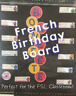 French (FSL) bulletin board sets- Birthday Board