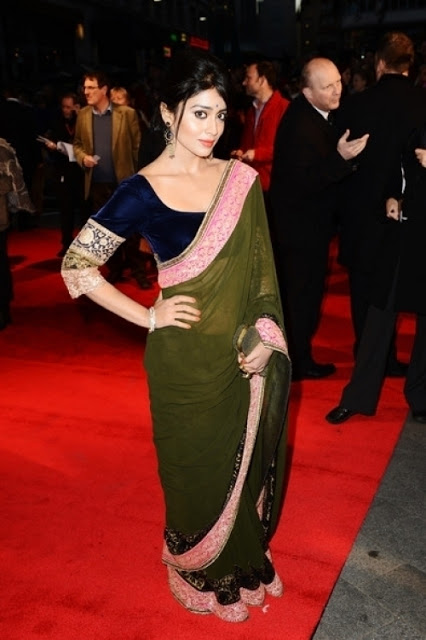 Bollywood Beauty Shriya Saran Hip Photos In Green Saree At Movie Premiere Show