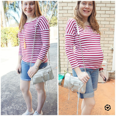 #motherhoodandPregnancyStyle outfit in pregnancy and motherhood striped tee bermuda denim shorts @awayfromblue