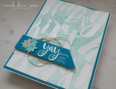 The large BDay Wall Stamp is perfect for the watercolor resist technique used on the backdrop of this card.  The pretty aqua and teal tones make for a fun birthday card.  All products used were from Fun Stampers Journey.