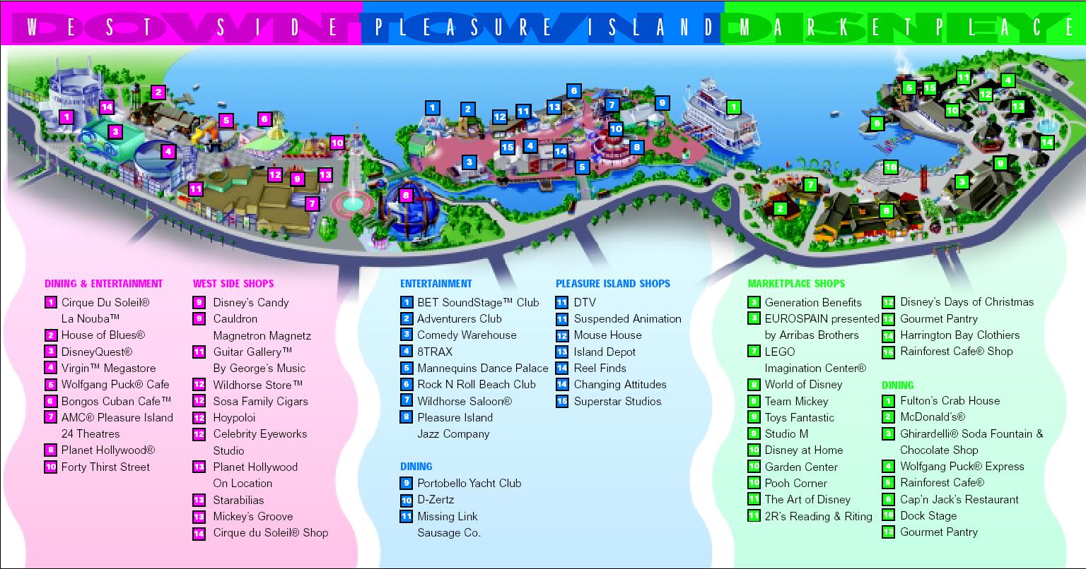Map Of Pleasure Island Downtown Disney