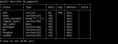 Cara Menghapus Field atau kolom pada Tabel MySQL