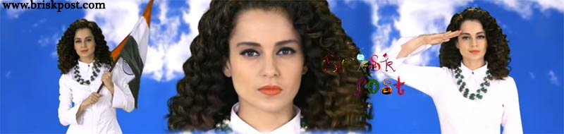 Kangana Raunaut in white dress and curly hair with Indian flag Tiranga in Love Your Country Song