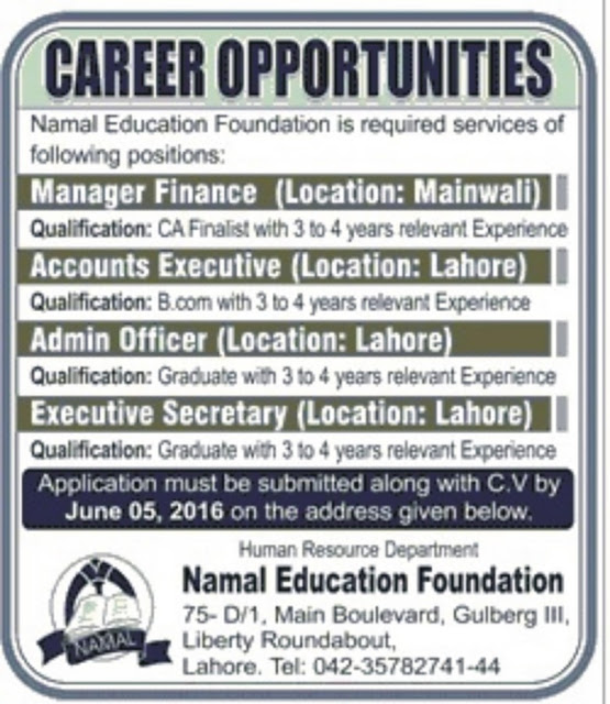 Jobs in NUML Education Foundation Lahore