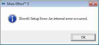 Direct X error dialogue box