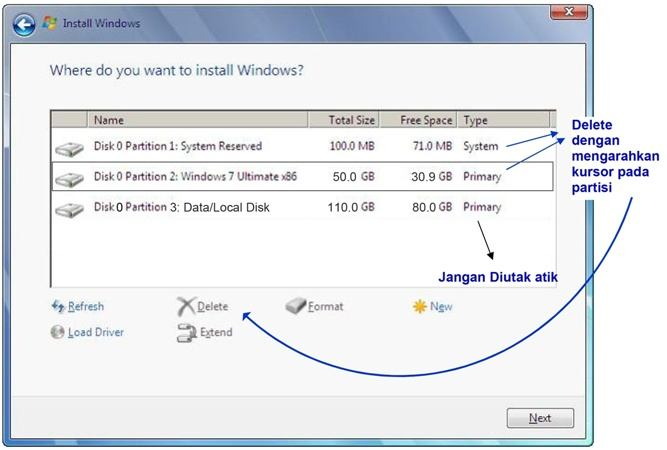 langkah 12: cara instal windows 7, delete partisi